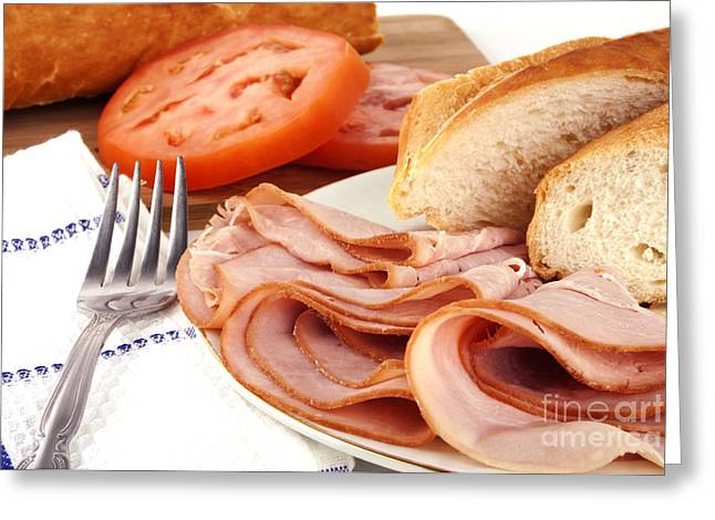 Sliced Bread Greeting Cards - Ham lunch spread Greeting Card by Blink Images