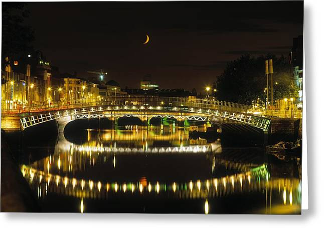 Reflections Of Sky In Water Greeting Cards - Hapenny Bridge, River Liffey, Dublin Greeting Card by The Irish Image Collection
