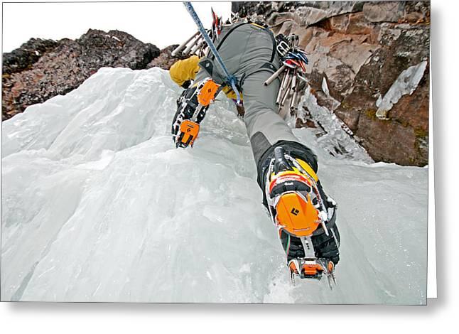 Vertigo Greeting Cards - Ice Climbing Greeting Card by Elijah Weber