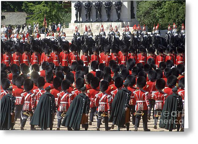 British Royalty Greeting Cards - Irish Guards March Pass During The Last Greeting Card by Andrew Chittock