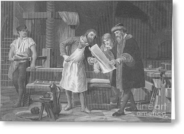 Mechanical Revolution Greeting Cards - Johannes Gutenberg, German Inventor Greeting Card by Photo Researchers