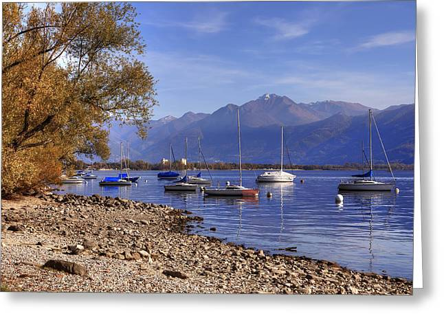 Tessin Greeting Cards - Lake Maggiore Greeting Card by Joana Kruse