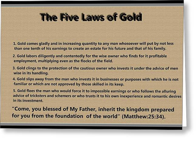 5 Laws of Gold Greeting Card by Ricky Jarnagin