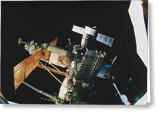 Atlantis Greeting Cards - Mir Space Station Greeting Card by Science Source