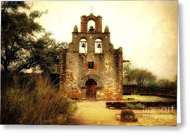Historical Buildings Photographs Greeting Cards - Mission Espada Greeting Card by Iris Greenwell