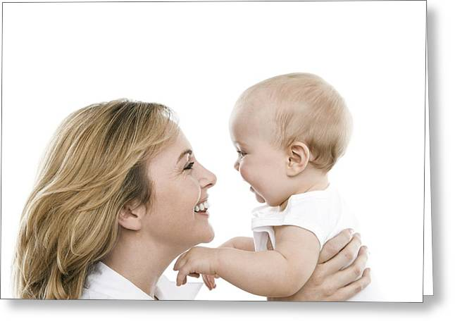 Adult And Child Greeting Cards - Mother And Baby Greeting Card by