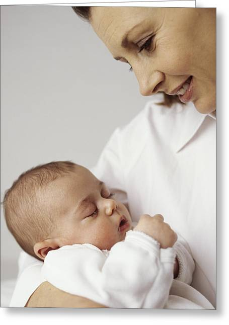 Caring Mother Greeting Cards - Mother And Baby Girl Greeting Card by Ian Boddy
