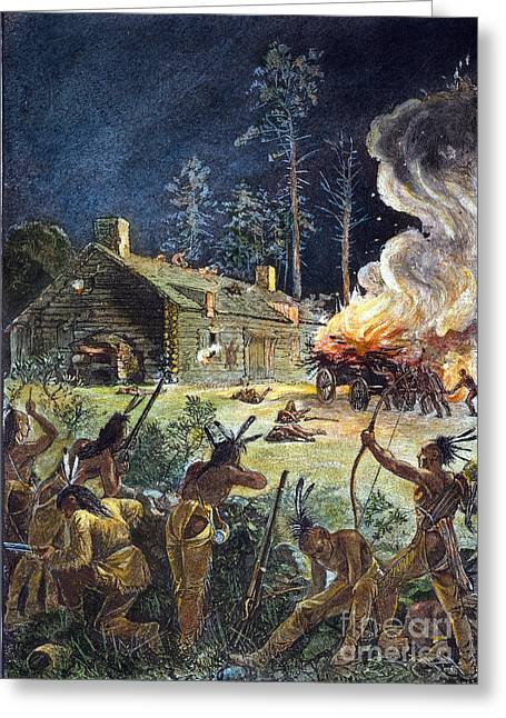 Wampanoag Greeting Cards - Native American Attack, 1675 Greeting Card by Granger