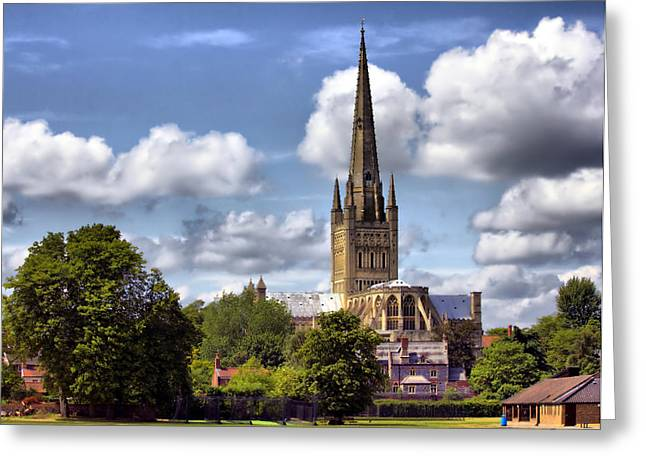 Norwich Cathedral Norfolk England Greeting Card by Darren Burroughs