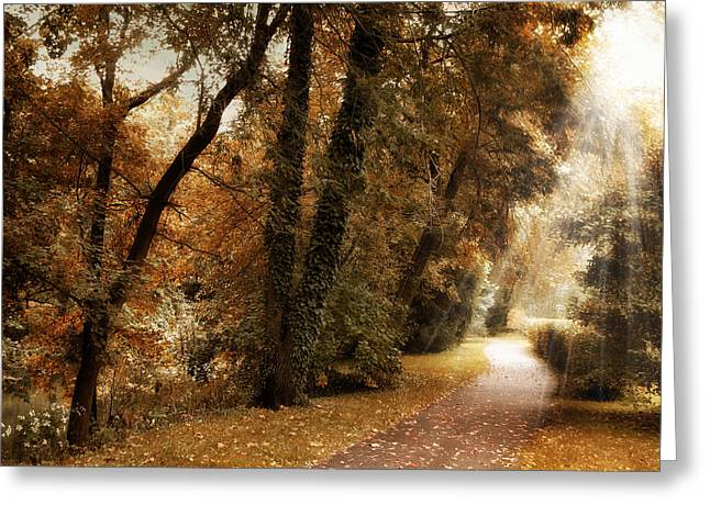 Country Lanes Digital Art Greeting Cards - October Trail Greeting Card by Jessica Jenney
