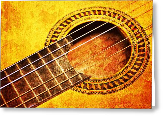 Old Guitar Greeting Card by Nattapon Wongwean