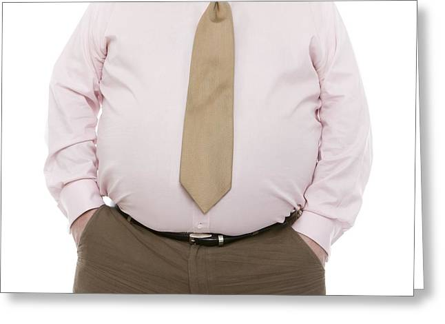 Hand In Pocket Greeting Cards - Overweight Man Greeting Card by