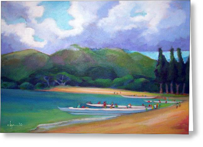 Canoe Paintings Greeting Cards - 5 p.m. Canoe Club Greeting Card by Angela Treat Lyon
