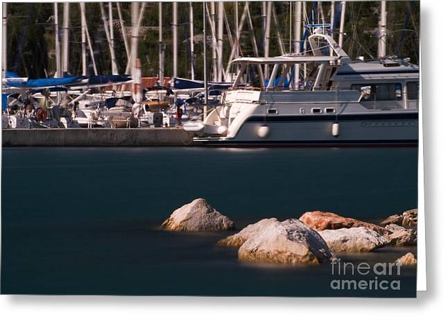 Sailboat Ocean Greeting Cards - Port of croatia Greeting Card by Odon Czintos