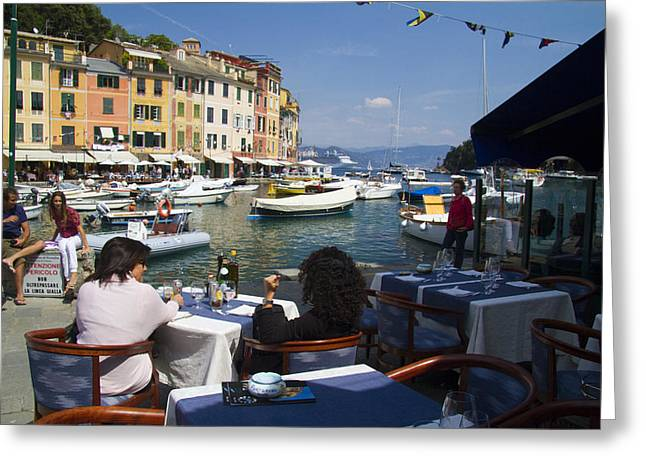 Italian Restaurant Greeting Cards - Portofino in the Italian Riviera in Liguria Italy Greeting Card by David Smith