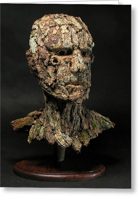 Tolkein Greeting Cards - Revered  A natural portrait bust sculpture by Adam Long Greeting Card by Adam Long