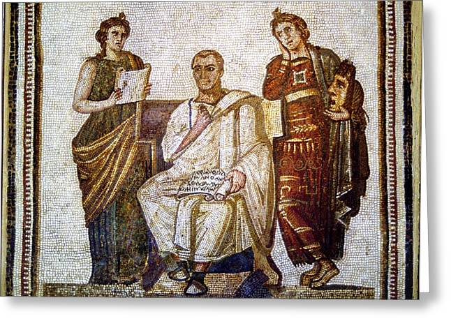 Historical Pictures Greeting Cards - Roman Mosaic Greeting Card by Sheila Terry