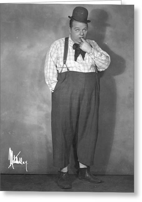 Suspenders Greeting Cards - Roscoe Fatty Arbuckle Greeting Card by Granger