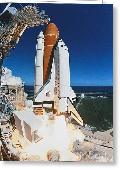 Atlantis Greeting Cards - Shuttle Lift-off Greeting Card by Science Source