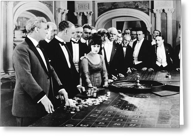 Roulettes Greeting Cards - Silent Film Still: Gambling Greeting Card by Granger