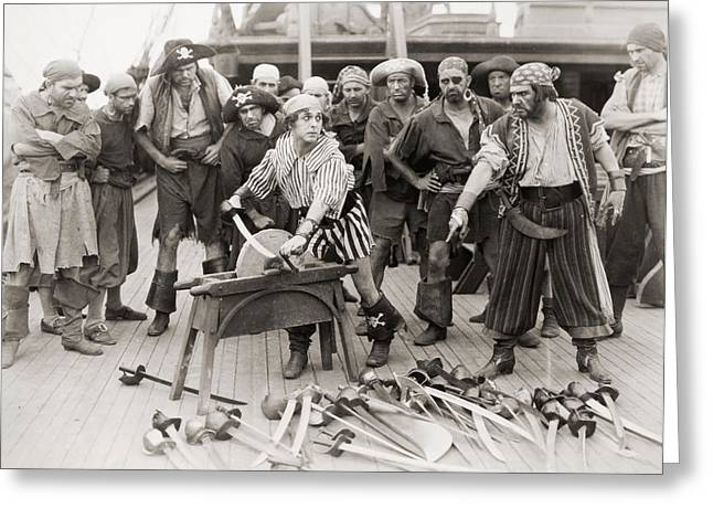 Comedian Greeting Cards - Silent Film Still: Pirates Greeting Card by Granger