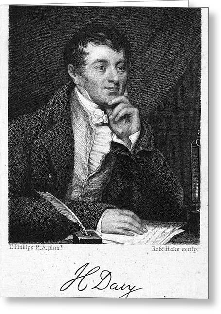 Autograph Greeting Cards - Sir Humphry Davy (1778-1829) Greeting Card by Granger