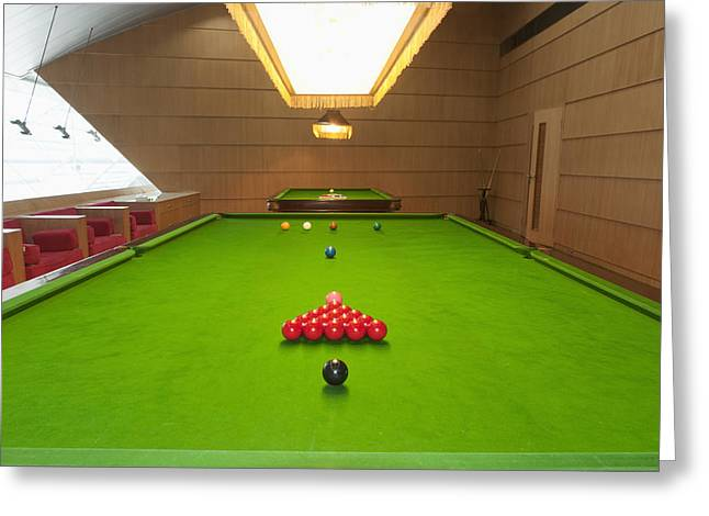 Snooker Room Greeting Card by Guang Ho Zhu