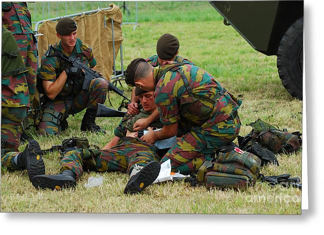 Fnc Greeting Cards - Soldiers Of A Belgian Infantry Unit Greeting Card by Luc De Jaeger