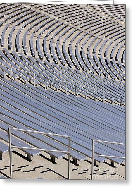 Sports Arenas Greeting Cards - Stadium Bleachers Greeting Card by Jeremy Woodhouse