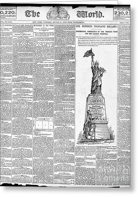 Front Page Greeting Cards - Statue Of Liberty, 1885 Greeting Card by Granger