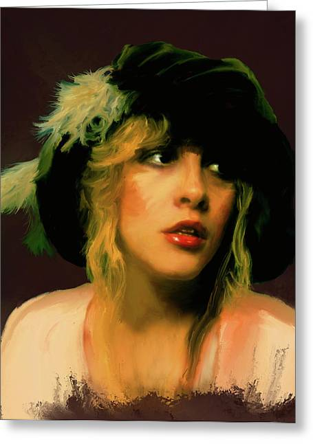 Print On Canvas Greeting Cards - Stevie Nicks Greeting Card by Brian Tones