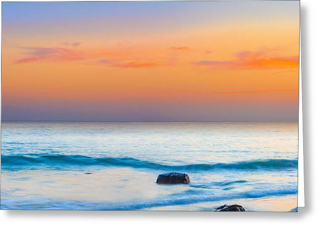 Amazing Sunset Greeting Cards - Sunset panorama Greeting Card by MotHaiBaPhoto Prints