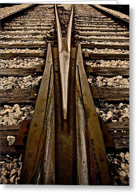 Train Line Greeting Cards - Switch Greeting Card by Odd Jeppesen