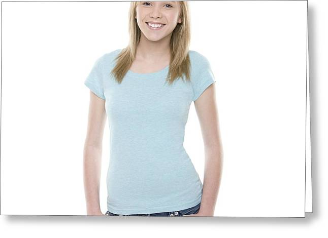 Hand In Pocket Greeting Cards - Teenage Girl Greeting Card by