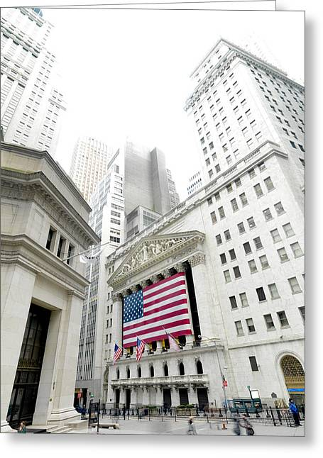 New England States Greeting Cards - The Facade Of The New York Stock Greeting Card by Justin Guariglia