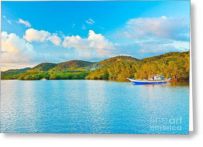 Amazing Sunset Greeting Cards - Tropical lagoon Greeting Card by MotHaiBaPhoto Prints