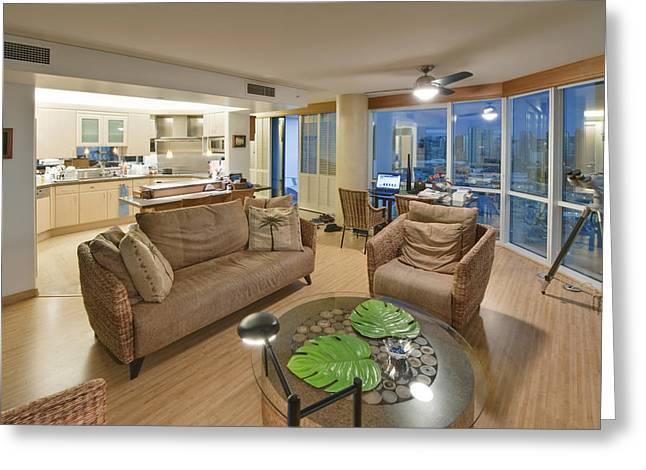 Usa Hi Honolulu Upscale Living Room Greeting Card by Rob Tilley