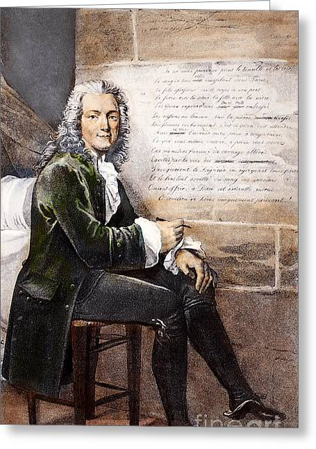 Bastille Greeting Cards - Voltaire (1694-1778) Greeting Card by Granger