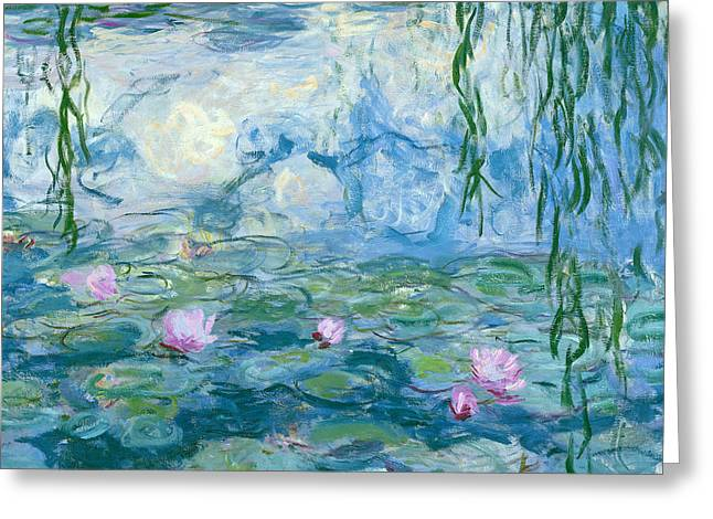Blooming Paintings Greeting Cards - Waterlilies Greeting Card by Claude Monet