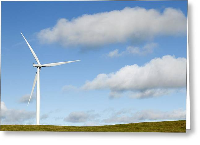 Generators Greeting Cards - Wind turbine  Greeting Card by Les Cunliffe