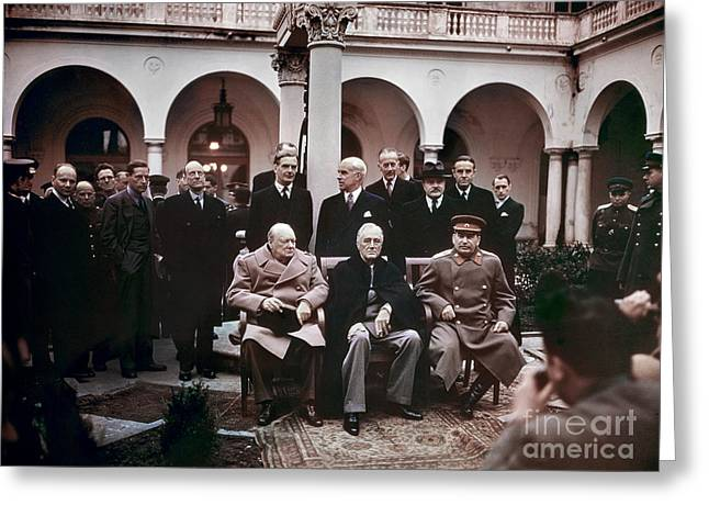 Democratic Party Greeting Cards - Yalta Conference, 1945 Greeting Card by Granger