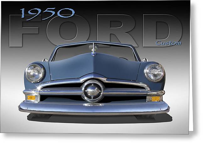 Lowrider Greeting Cards - 50 Ford Custom Convertible Greeting Card by Mike McGlothlen