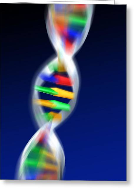 Helix Greeting Cards - Dna Molecule Greeting Card by Pasieka