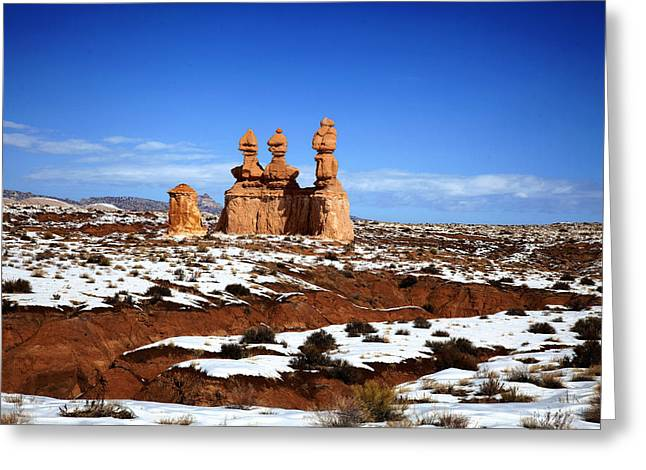 Snow On The Ground Greeting Cards - Goblin Valley Greeting Card by Mark Smith
