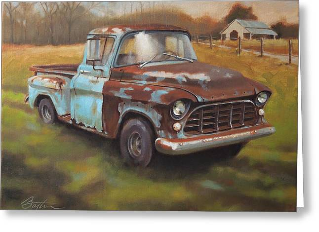 1955 Paintings Greeting Cards - 55 Chevy Truck Greeting Card by Todd Baxter