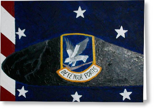 Patrotic Greeting Cards - 55th Security Forces Beret Greeting Card by Roy Penny