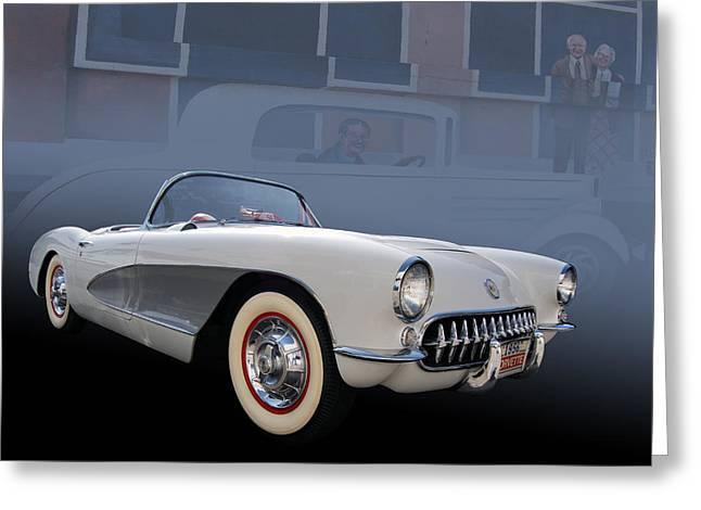 56 Corvette Greeting Card by Bill Dutting