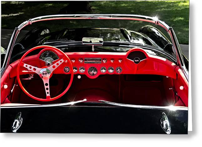 Cockpit Greeting Cards - 56 Corvette Convertible Greeting Card by Douglas Pittman