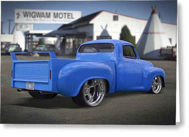 Classic Truck Greeting Cards - 56 Studebaker at the Wigwam Motel Greeting Card by Mike McGlothlen