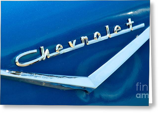 57 Chevy Bel Air Emblem Greeting Card by Mark Dodd